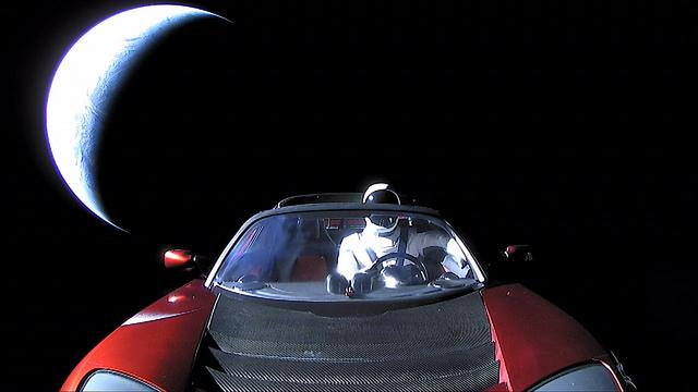lo starman di Elon Musk sul razzo Falcon Heavy